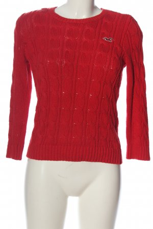 Hollister Grobstrickpullover rot Zopfmuster Casual-Look
