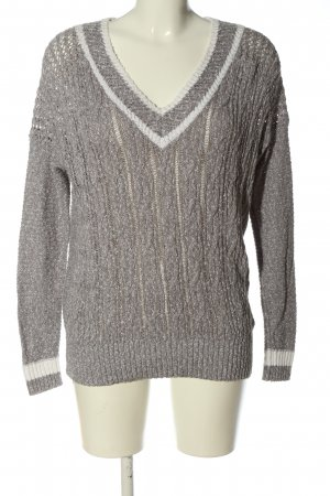 Hollister Crochet Sweater light grey-white cable stitch casual look