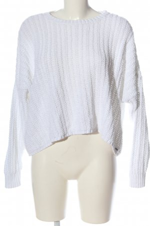 Hollister Crochet Sweater white weave pattern casual look