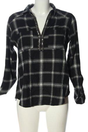 Hollister Blusa-camisa negro-gris claro estampado a cuadros look casual