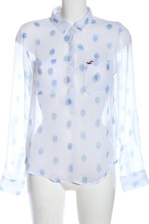 Hollister Hemd-Bluse weiß-blau Punktemuster Business-Look