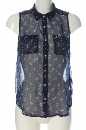 Hollister Shirt Blouse blue allover print business style