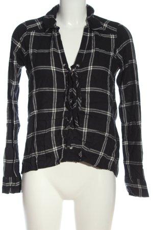 Hollister Hemd-Bluse schwarz-weiß Karomuster Casual-Look