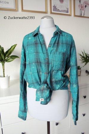 Hollister Hemd Bluse blau/grün 34/XS