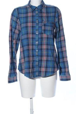 Hollister Hemd-Bluse blau-rot Allover-Druck Business-Look