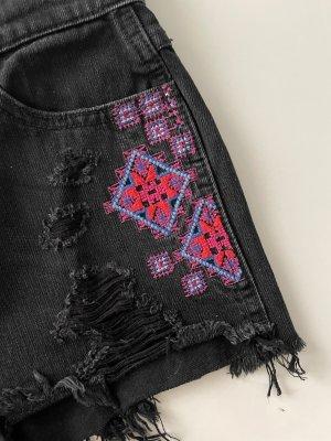 Hollister high waist denim shorts mit Stickerei Gr. 00 w23