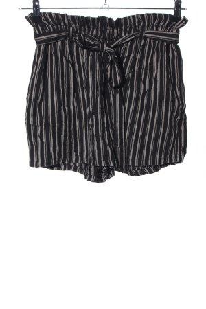 Hollister High-Waist-Shorts schwarz-creme Streifenmuster Casual-Look