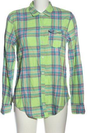 Hollister Holzfällerhemd grün-blau Allover-Druck Casual-Look