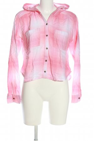 Hollister Holzfällerhemd pink-weiß grafisches Muster Casual-Look