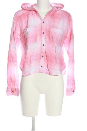 Hollister Camisa de leñador rosa-blanco estampado gráfico look casual