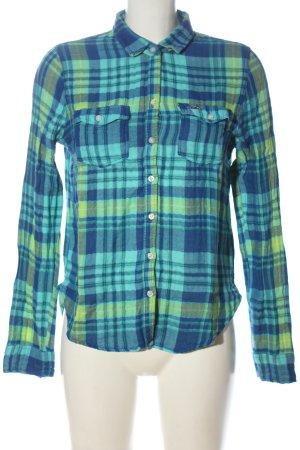 Hollister Lumberjack Shirt blue-green allover print casual look