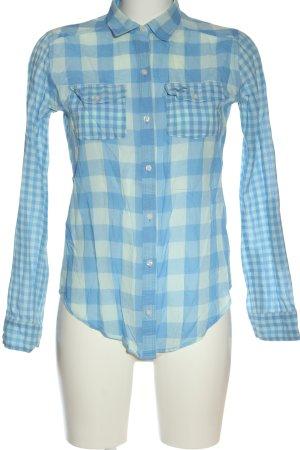 Hollister Holzfällerhemd blau-weiß Allover-Druck Casual-Look