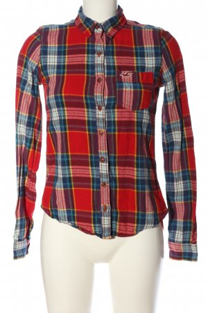 Hollister Holzfällerhemd rot-blau Allover-Druck Casual-Look