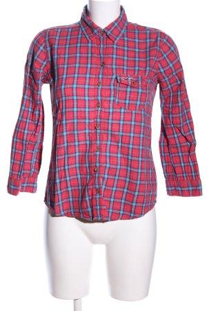 Hollister Holzfällerhemd rot-blau Allover-Druck Casual-Look