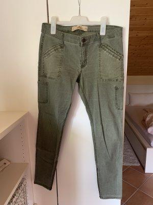 Hollister Spodnie khaki zielono-szary-khaki