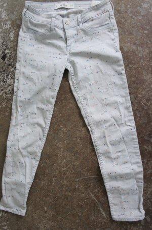 Hollister Jeansy 7/8 biały-niebieski neonowy