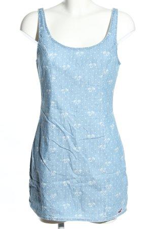 Hollister Jeanskleid blau-weiß Allover-Druck Casual-Look