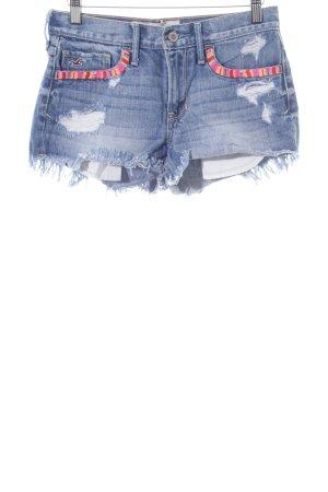 Hollister Jeansshorts blau Steppmuster Casual-Look