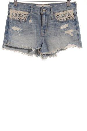 Hollister Jeansshorts hellblau-wollweiß Destroy-Optik