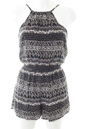 Hollister Jumpsuit schwarz-weiß abstraktes Muster Casual-Look