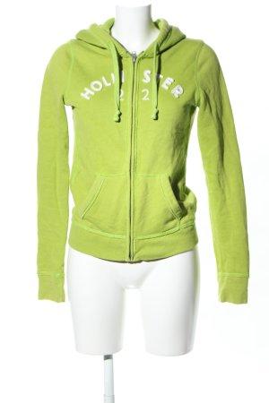Hollister Kapuzenjacke grün-weiß Schriftzug gedruckt Casual-Look