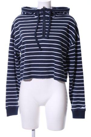 Hollister Pull à capuche blanc-bleu motif rayé style décontracté