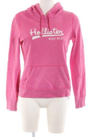 Hollister Kapuzenpullover pink Schriftzug gedruckt Casual-Look