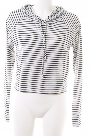 Hollister Top à capuche blanc-noir motif rayé style décontracté