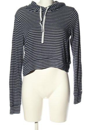 Hollister Koszulka z kapturem czarny-biały Wzór w paski W stylu casual