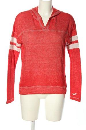 Hollister Koszulka z kapturem czerwony-biały Wzór w paski Sportowy styl