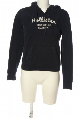 Hollister Kapuzensweatshirt schwarz-weiß Schriftzug gestickt Casual-Look