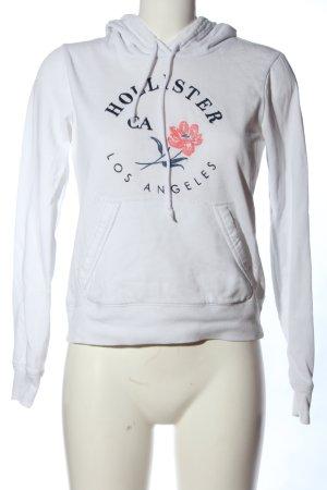 Hollister Kapuzensweatshirt weiß Motivdruck Casual-Look
