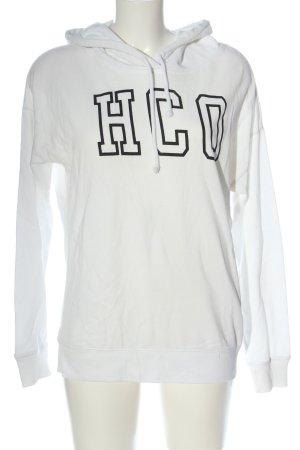 Hollister Sudadera con capucha blanco-negro letras impresas look casual