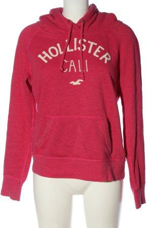 Hollister Kapuzensweatshirt pink-wollweiß Schriftzug gedruckt Elegant