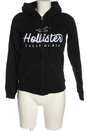 Hollister Kapuzensweatshirt schwarz-weiß Schriftzug gedruckt Casual-Look