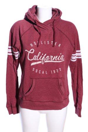 Hollister Kapuzensweatshirt rot-weiß Schriftzug gestickt Casual-Look