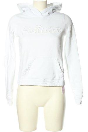 Hollister Kapuzensweatshirt weiß Schriftzug gestickt Casual-Look