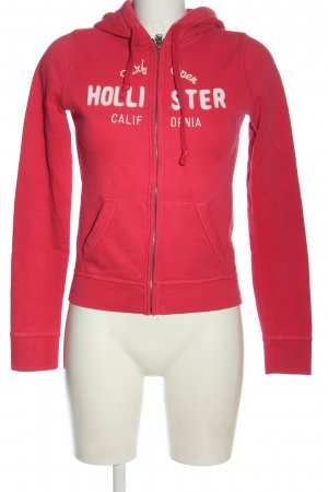 Hollister Sweatjacke pink Schriftzug gedruckt Casual-Look