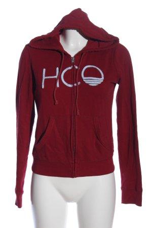 Hollister Kapuzensweatshirt rot Schriftzug gestickt Casual-Look