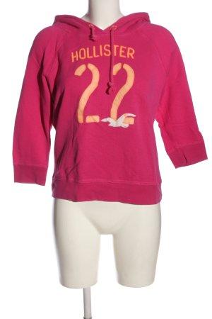 Hollister Kapuzensweatshirt pink Schriftzug gedruckt Casual-Look