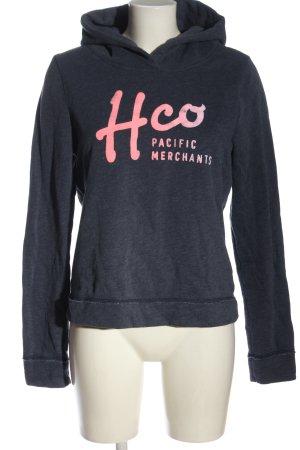 Hollister Kapuzensweatshirt blau-pink Schriftzug gedruckt Casual-Look