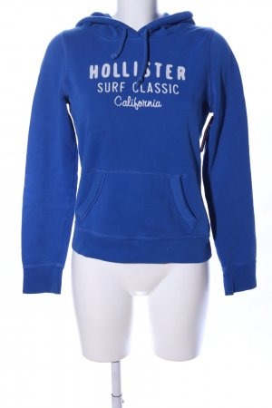 Hollister Kapuzensweatshirt blau Schriftzug gedruckt Casual-Look
