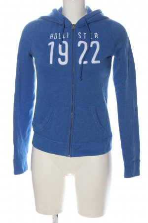 Hollister Kapuzensweatshirt blau-weiß Schriftzug gedruckt Casual-Look