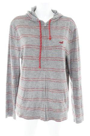 Hollister Kapuzensweatshirt grau-rot Streifenmuster sportlicher Stil