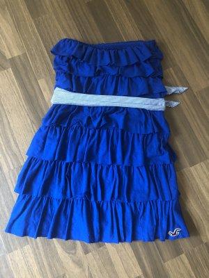 Hollister Vestido bandeau azul-blanco