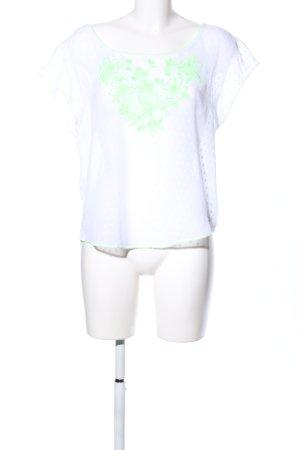 Hollister Kurzarm-Bluse weiß-grün Blumenmuster Casual-Look