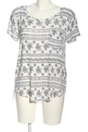 Hollister Kurzarm-Bluse weiß-schwarz Allover-Druck Elegant