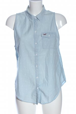 Hollister ärmellose Bluse blau-weiß Allover-Druck Business-Look