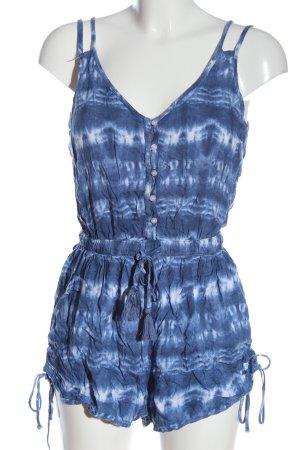 Hollister Kurzer Jumpsuit blau-weiß grafisches Muster Casual-Look