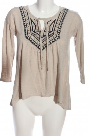 Hollister Langarm-Bluse creme-schwarz grafisches Muster Casual-Look
